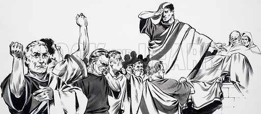 The Glory that was Rome. Tears welled in Antony's eyes as he told the crowd that their beloved leader had left part of his lands to be shared among them. Original artwork for the illustration on p2 of Look and Learn no. 622 (15 December 1973).