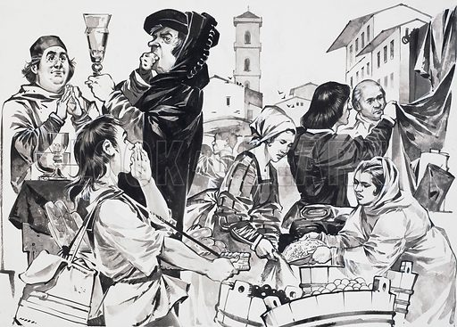 In the rich city-state of Florence where trade and commerce flourished, the great artists of the Renaissance were nurtured by the famous patrons of art. Original artwork for the illustration on p23 of L&L no. 606 (25 August 1973).