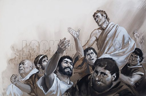The Glory that was Rome. When the plebeian soldiers rebelled against unfair treatment, they were calmed by Agrippa and promised a fair way of airing their grievances. Original artwork for one of the illustrations on pp4-5 of L&L issue no.616 (3 November 1973).