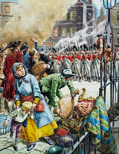 During Lord North's term of office, London spent five days at the mercy of a mob. Finally, on June 7, 1780, the king himself ordered the army to fire on rioters who were looting in the city. The uprising was suppressed, the leaders brought to justice. Original artwork for the illustration on p23 of L&L issue no. 187 (14 August 1965).