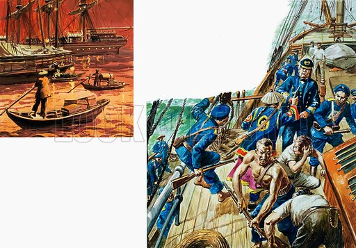 Opium was transferred at sea to junks which could slip in among the local shipping unobserved (left). Two boatloads of uniformed Chinese boarded the ship and hauled down the ensign (right). The countdown to war had begun. Original artwork for the illustrations on p10 and p11 of L&L issue no.797 (23 April 1977).