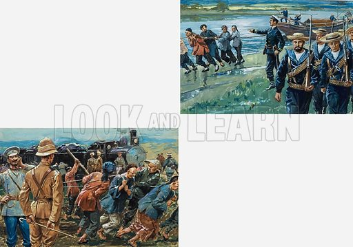 The Boxer Rebellion. Disruption of the railway line was anticipated by the expedition's leaders, who had brought along a gang of coolies to repair the damage (left). With four junks carrying their supplies, equipment and wounded, the expedition set off downstream (right). Progress was slow and the Boxers were a constant threat. Original artwork for the illustrations on pp 20-21 of L&L issue no. 800 (14 May 1977).
