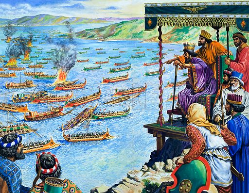 Xerxes, Emperor of Persia, watching the defeat of his fleet by the Greeks at the Battle of Salamis, 480 BC Original artwork for illustration on pp14–15 of the World of Wonder Book 1971.