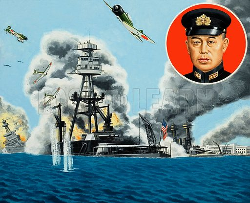Pearl Harbour. On the instructions of Admiral Isoroku Yamamoto (inset), wave after wave of of Japanese aircraft rained death and destruction on the ships of the United States Pacific Fleet. Original artwork for the illustrations on p2 of L&L issue no.933 (8 December 1979).