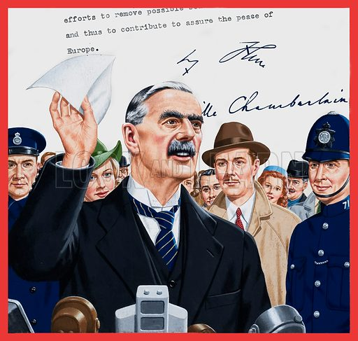 The Worthless Piece of Paper. Smiling confidently, Neville Chamberlain, Britain's Prime Minister, stepped from the De-Havilland 86B biplane on which he had just flown from Munich in Germany. While newsreel cameras whirred, he stepped up to a battery of microphones and waved a sheet of paper in the air. Original artwork for the illustration on p2 of L&L issue no. 855 (3 June 1978).