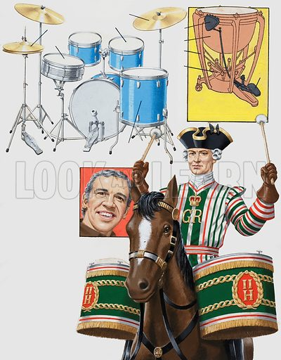The Rhythm that's Hard to Beat. Playing the drums may look a simple thing to do but it calls for a good sense of timing, and a strong pair of wrists. A Modern Drum Kit (top left); How to tune a kettle drum (top right). Portrait of drummer Buddy Rich (centre). A drummer wearing the uniform of a bandsman with the British 2nd Regiment of Horse (bottom right). Oiginal artwork for the illustrations on p23 of L&L issue no. 985 (24 January 1981).