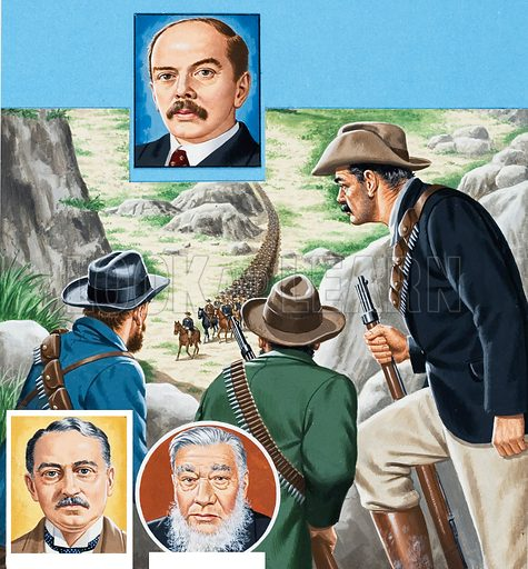 Unknown figures in Latin American history, possibly Mexican revolutionaries. Original artwork for illustration in L&L (issue as yet unidentified, though probably 30 December 1978).