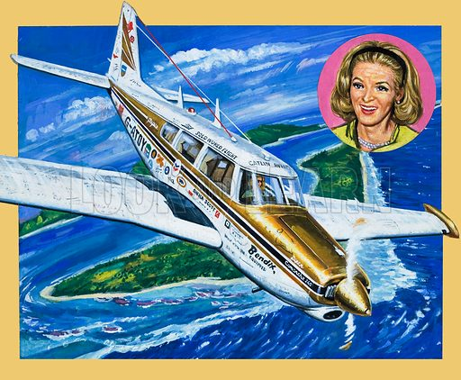 Flight to Fame. All alone in the sky, Sheila Scott was undertaking the adventure of a lifetime. As petrol fumes surged ominously into the cockpit, Sheila Scott anxiously checked her fuel gauges; but they gave no indication of anything being wrong. Original artwork for the illustrations on p2 of L&L issue no. 1003 (30 May 1981).