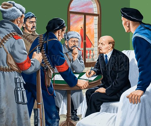 Germany's secret weapon. After years spent in exile in Switzerland, Lenin (second from right) at last returned to his homeland to take charge of the revolution. Original artwork for the illustration on p2 of L&L issue no. 929 (10 November 1979).