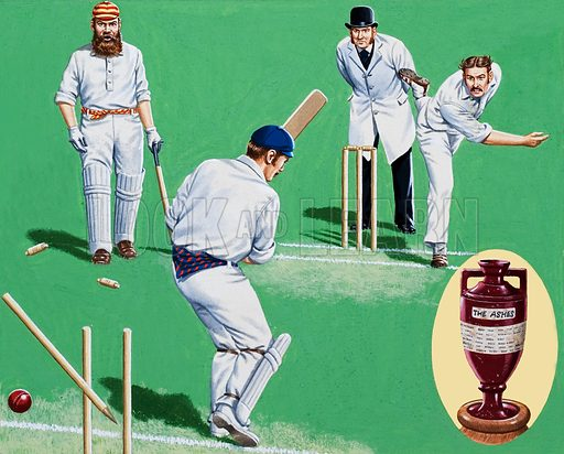 The Ashes of Defeat. England's opening batsman looks on as his partner's wicket is shattered by the Australian fast bowler Fred Spofforth. Inset: the original urn containing the ashes of a burnt stump. Original artwork for the illustrations on p2 of L&L issue no. 919 (1 September 1979).
