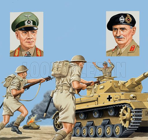 Turning Point. The battle of El Alamein proved to be decisive in the struggle for supremacy in North Africa. Left inset: General Rommel. Right inset: General Sir Bernard Montgomery. Original artwork for the illustrations on p2 of L&L issue no. 927 (27 October 1979).