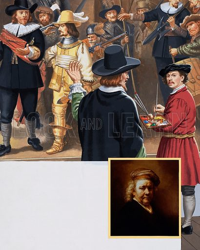 When Night becomes Day. A thorough cleaning of Rembrandt's masterpiece The Night Watch revealed that the picture was not of a night scene after all. A distinguished visitor views the painting as Rembrandt completes a section of The Night Watch and sees himself in the picture.  Inset shows Self-Portrait by Rembrandt. Rembrandt left more than 100 self-portraits showing what he looked like from the time when he was a young man until his death in 1669. Original artwork for the illustrations on p23 of L&L issue no. 1005 (13 June 1981).