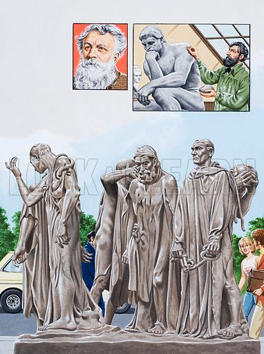 A Monument to a Hoax? Did King Edward really intend to sacrifice the six burghers of Calais, or was their release planned, as some historians believe? Top left: the great sculptor, August Rodin in later life. Top right: Rodin puts the finishing touches to one of his masterpieces, The Thinker, prior to its being cast in bronze. Main picture: twelve years after Rodin's death, The Burghers of Calais was finally transferred to the Place d'Armes in Calais, and erected at ground level in accordance with the sculptor's wishes. Original artwork for the illustrations on p23 of L&L issue no. 1002 (23 May 1981).