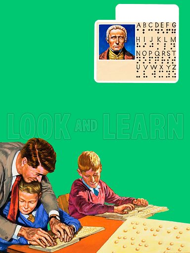 Feeling for Words. Alphabet for the Blind - Louis Braille. Blind children learning to read by feeling the raised dots. Bottom right: a close-up of braille letters. Original artwork for the illustrations on p2 of L&L issue no. 1045 (20 March 1982).