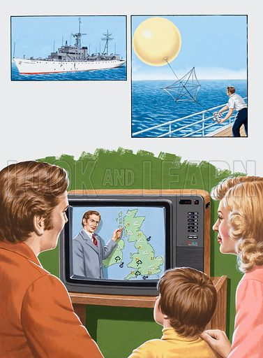 Here is the Weather Forecast. Tune In To A Balloon. Top left: a United States weather ship stationed in the Atlantic. Top right: being released from this British weather ship is a balloon carrying a radio-sound transmitter, which sends signals to a tracking station on the ground. Main picture: the daily weather forecast is an occurrence we all too easily take for granted. Original artwork for the illustrations on p29 of L&L issue no. 970 (11 October 1980).