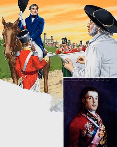The Duke of Wellington being painted. Original artwork for illustration in Look and Learn (issue yet to be identified).