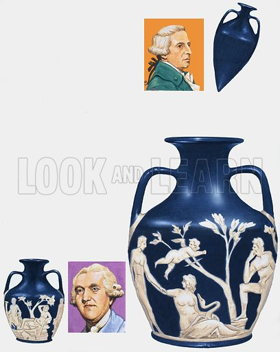 They pieced together a masterpiece after a drunkard had smashed the Portland Vase into over 200 pieces. Top left inset: Sir William Hamilton, collector of antiquities, who sold the vase to the Duchess of Portland. Top right inset: an amphora, or two-handled wine jar. Bottom left and centre: Josiah Wedgwood borrowed the vase and used its design on some of his stoneware. Bottom right: the Portland Vase. Original artwork for the illustrations on p30 of L&L issue no. 999 (2 May 1981).
