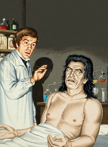 Frankenstein and monster, picture, image, illustration