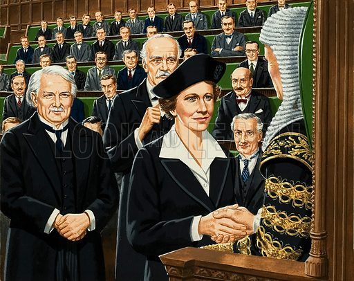 It was a historic day in 1919 when Nancy, Viscountess Astor, became Britain's first woman member of Parliament. Her two sponsors were the Liberal Prime Minister, David Lloyd George (left) and Arthur Balfour, Leader of the Conservative Party. Original artwork for the illustration on p2 of L&L issue no. 932 (1 December 1979).