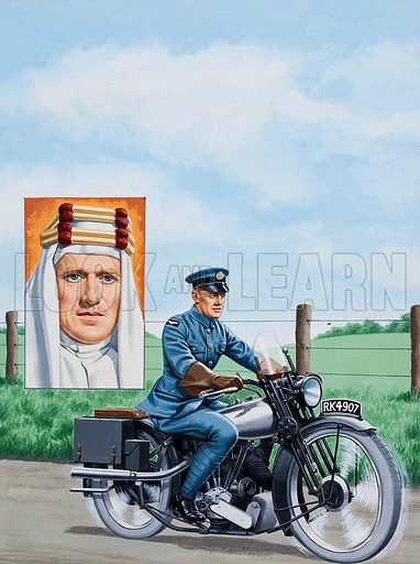 Death of a Freedom Fighter. A motorcycle accident brought to an end the life of T.E.Lawrence, the Welshman whose courage and genius proved an inspiration to an oppressed Arab nation. Original artwork for the illustration on p2 of L&L issue no. 904 (19 May 1979).