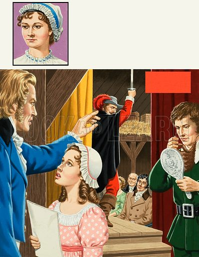 Jane Austen, and a theatrical scene set off-stage. Original artwork for the illustrations on p10 of L&L issue no. 952 (7 June 1980).
