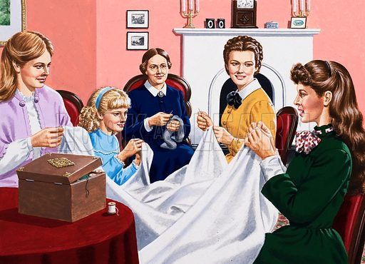 A scene from Little Women showing the March girls at home sewing with their mother.