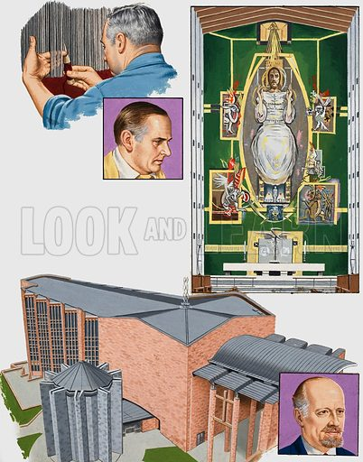 The Cathedral which caused controversy. Coventry Cathedral was designed by Sir Basil Spence (inset), with a flat roof and zig-zag walls, much to the dismay of many. Top left: Weaving the altarpiece. Top centre: Gordon Sutherland, the artist and creator of the altarpiece. Top right: The Altarpiece. Original artwork for the illustration on p 23 of L&L issue no. 1000 (9 May 1981).