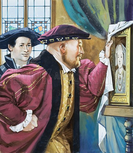 Holbein was sent by Henry VIII to paint the young Princess Anne of Cleves, whom the King had never seen but thought he would like to marry. Original artwork for the illustration on p24 of L&L issue no. 608 (8 September 1973).
