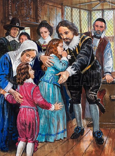 King Charles I bids a sad farewell to the last two of his children to remain in England, Princess Elizabeth and Prince Henry, Duke of Gloucester. Original artwork for the illustration on p29 of L&L issue no. 1009 (11 July 1981).