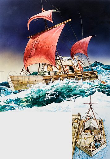 Kon-Tiki on its epic voyage.  Inset shows the boat being constructed from balsa wood.  Original artwork for illustration on p81 of World of Knowledge annual 1983.  Lent for scanning by The Gallery of Illustration.