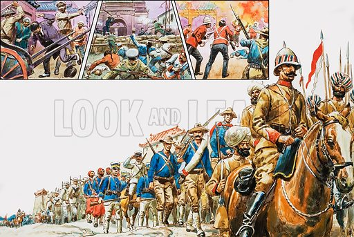 The Boxer Rebellion. Main Picture: The eight-nation relief force reached the city with Sikhs, Americans, Japanese, French Zouaves and Cossacks leading the way. Top left: The Japanese Prime Minister was hacked to death. Top middle: The Austro-Hungarians used machine guns on the Boxers. Top right: A Boxer arsonist was shot on the spot. Original artwork for the illustrations on pp10-11 of L&L issue no. 796 (16 April 1977).