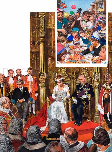 The State Opening of Parliament. Inset: The Queen's Silver Jubilee in 1977 was a cause for general rejoicing. Original artwork for the illustrations on p29 of L&L issue no. 1026 (7 November 1981).