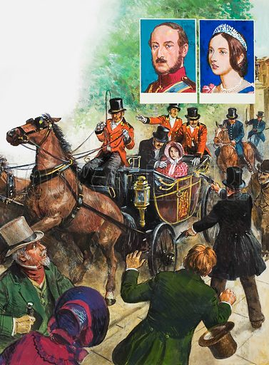 On 10 June, 1840, a man discharged two pistols at Queen Victoria, as she rode in her open carriage with Prince Albert. Insets: Prince Albert and Queen Victoria. Original artwork for the illustrations on p29 of L&L issue no. 1020 (26 September 1981).