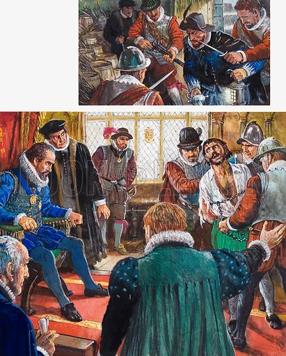Gunpowder, Treason and Plot. Top: Guy Fawkes is arrested. Main picture: Guy Fawkes was brought before King James and his Council, but refused to reveal the names of his co-conspirators. Original artwork for the illustrations on p29 of L&L issue no. 1007 (27 June 1981).