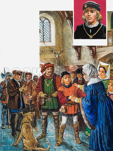 Princes in Peril. Elizabeth Woodville was finally persuaded to give up her younger son, Richard, to her brother-in-law Richard of Gloucester, later Richard III. Inset: Edward V. Original artwork for the illustrations on p 29 of L&L issue 997 (18 April 1981).