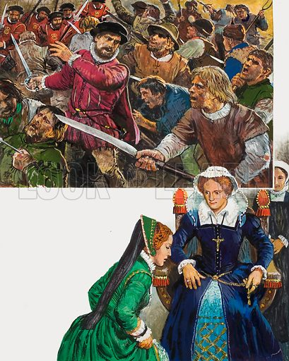 Reign of Terror - Mary's persecution of the Protestants. Top: Sir Thomas Wyatt and his rebels enter the courtyard of the Palace of Westminster before being defeated. Bottom: Mary ordered her half-sister Elizabeth to be brought before her. Elizabeth tearfully protested her loyalty but her life was far from safe as long as her sister lived. Original artwork for illustrations on p29 of L&L issue no. 1004 (6 June 1981).