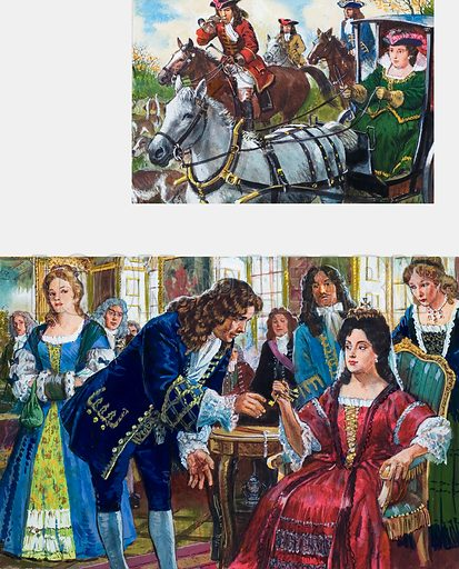 When England had two Queens. Queen Anne and her domineering friend Sarah, Duchess of Marlborough. Queen Anne had a one-seat chariot she used to hunt in, being too large and gouty to ride a horse (top). The Duke of Marlborough finally returns his wife's golden keys to the royal apartments, thereby gratifying Queen Anne (bottom). Original artwork for the illustrations on p 29 of L&L issue no. 1014 (15 August 1981).