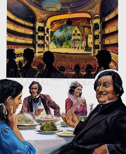 He turned his back on Fame. Top: Any performance of a Rossini opera was almost guaranteed to fill a theatre (top). Rossini loved to eat and his wife's dinner parties were legendary (bottom). Original artwork for the illustrations on p 23 of L&L issue no. 1030 (5 December 1981).
