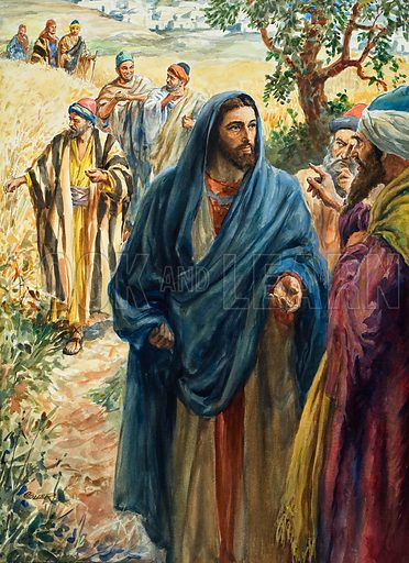 Christ with His Disciples.  Original artwork for Look and Learn or The Bible Story (issue yet to be identified).  Lent or scanning by The Gallery of Illustration.