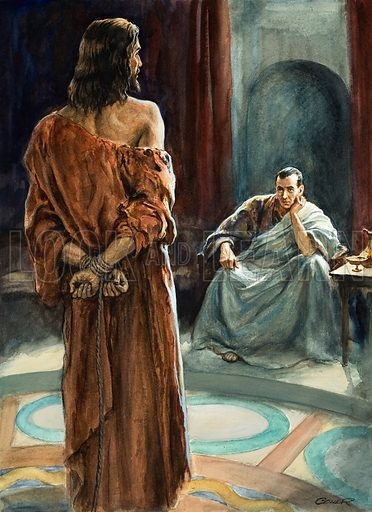 Jesus Christ in front of Pontius Pilate, Roman Governor of Judea. Original artwork for Look and Learn or The Bible Story (issue yet to be identified).
