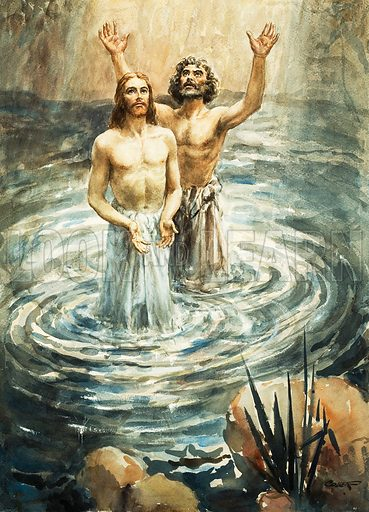 Jesus Christ being baptised by John the Baptist. Original artwork for Look and Learn or The Bible Story (issue yet to be identified).