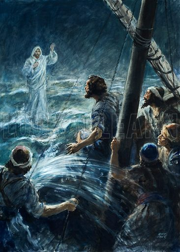 Jesus Christ walking on water on the Sea of Galilee. Original artwork for illustration in Look and Learn or The Bible Story (issue yet to be identified).