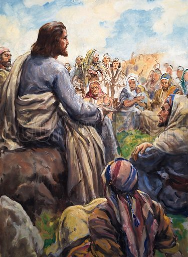 Jesus Christ teaching. Original artwork for Look and Learn or The Bible Story (issue yet to be identified).