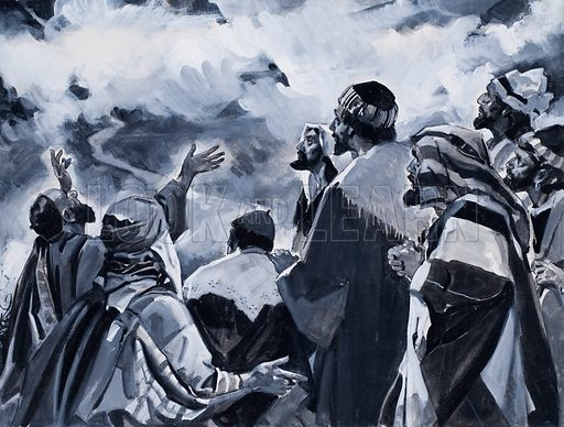 Strange Event of Ascension Day. When the clouds lifted Jesus was no longer with the disciples.  Original artwork for the illustration on p 22 of L&L issue no. 121 (9 May 1964).