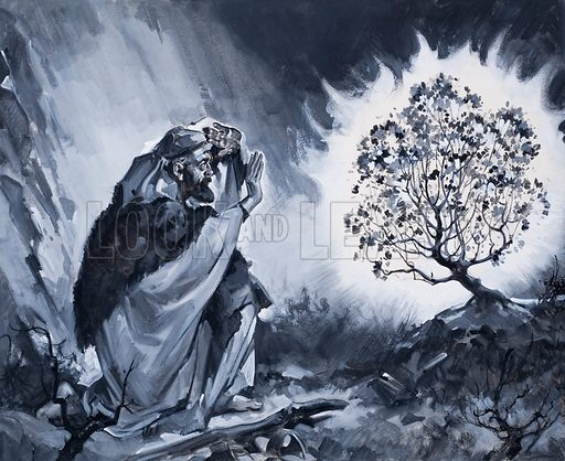 Moses and the Burning Bush. Original artwork for The Bible Story (issue as yet to be identified).