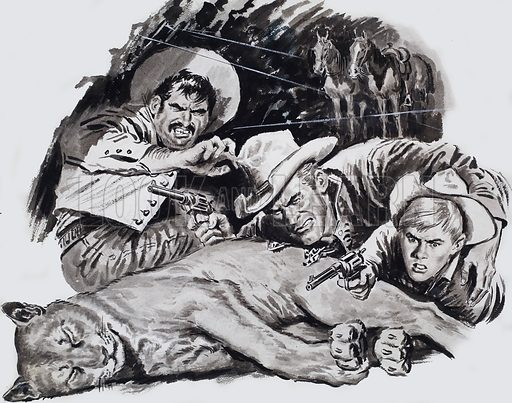 Hold-up in Cougar Canyon. The first shots slammed into the cave and went smashing round the interior like mad hornets. Original artwork for story illustration in Ranger issue of 18 June 1966.
