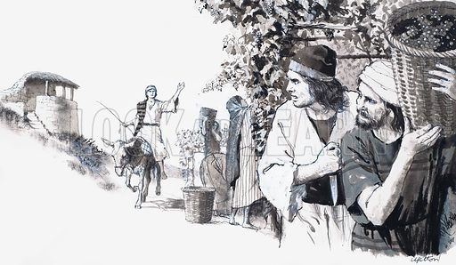Unidentified Biblical scene. Original artwork for The Bible Story.