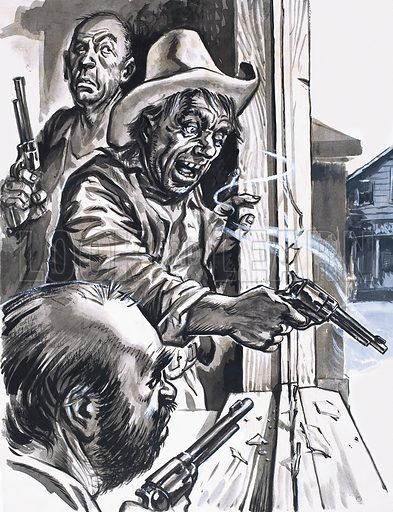 Ruffian Cowboys Shooting from Window.  Original artwork for illustration in Ranger or Look and Learn (issue yet to be identified).  Lent for scanning by The Gallery of Illustration.