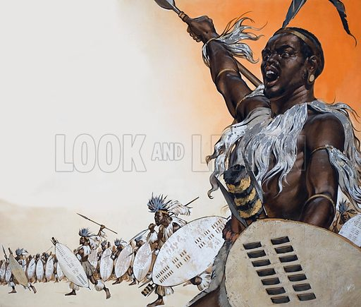 The Story of Africa: The Exploits of Chaka. Chaka in battle at the head of the regiment of Tulwana impi. The regiment was made up of the Zulu nobility. The bunches of blue crane feathers in the head-dresses mark the wearers as married men.  Original artwork for illustration on pp4-5 of Look and Learn issue no 337.  Lent for scanning by The Gallery of Illustration.