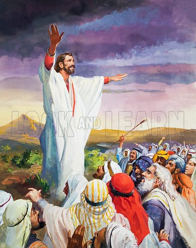 Christ calming the multitude, or perhaps a Prophet or Apostle. Original artwork for The Bible Story (issue as yet to be identified).